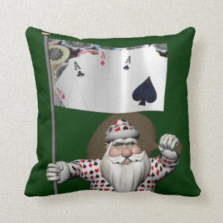 Santa Claus Loves Playing  Poker Throw Pillow