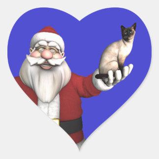 Santa Claus Loves Siamese Cats Heart Sticker