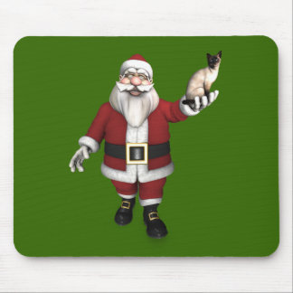 Santa Claus Loves Siamese Cats Mouse Pad