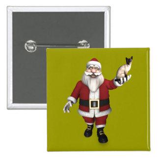 Santa Claus Loves Siamese Cats Pinback Button
