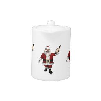 Santa Claus Loves Siamese Cats Teapot