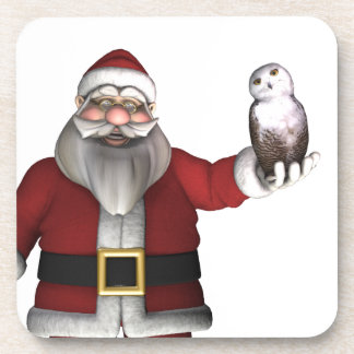 Santa Claus Loves Snowy Owl Coaster
