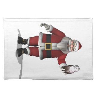 Santa Claus Loves Snowy Owl Placemat