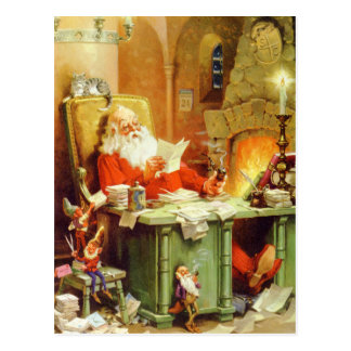 Santa Claus Making a List, Checking It Twice Postcard