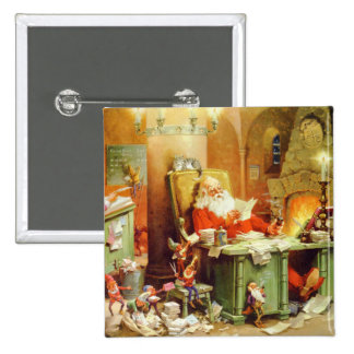 Santa Claus Making His List, Checking it Twice 2 Inch Square Button