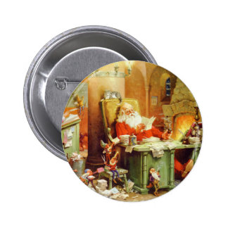 Santa Claus Making His List, Checking It Twice 2 Inch Round Button