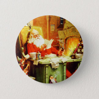 Santa Claus Making His List, Checking it Twice Button