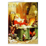 Santa Claus Making His List, Checking it Twice Greeting Cards