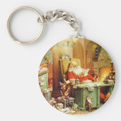 Santa Claus Making His List, Checking It Twice Basic Round Button Keychain