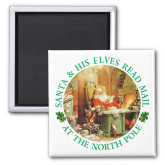 Santa Claus, Making his list, Checking it Twice Refrigerator Magnets