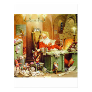 Santa Claus Making His List, Checking It Twice Postcard