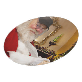 Santa Claus making his naughty and nice list - Plate