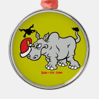 Santa Claus Meets a Rhino Ornaments