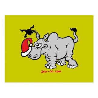 Santa Claus Meets a Rhino Postcard