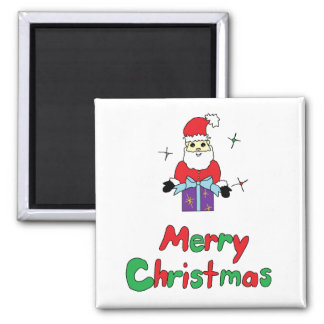 Santa Claus Merry Christmas 2 Inch Square Magnet