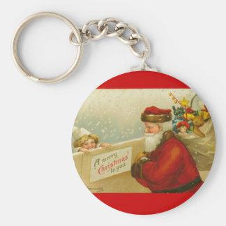 Santa Claus Merry Christmas n Child Vintage Style Keychain