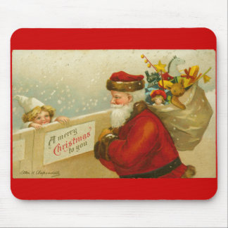 Santa Claus Merry Christmas n Child Vintage Style Mouse Pad