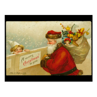 Santa Claus Merry Christmas n Child Vintage Style Postcard