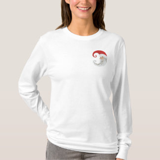 Santa Claus Moon Embroidered Long Sleeve T-Shirt