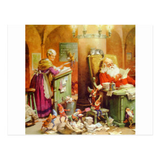 Santa Claus & Mrs Claus in the North Pole Mailroom Postcard