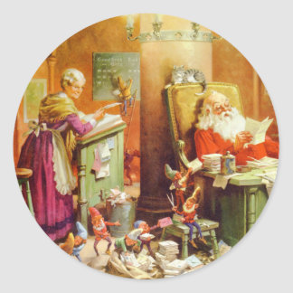 Santa Claus & Mrs Claus in the North Pole Mailroom Sticker