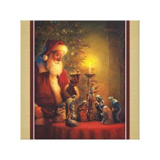 Santa Claus Nativity Christ Child in Manger Canvas Print