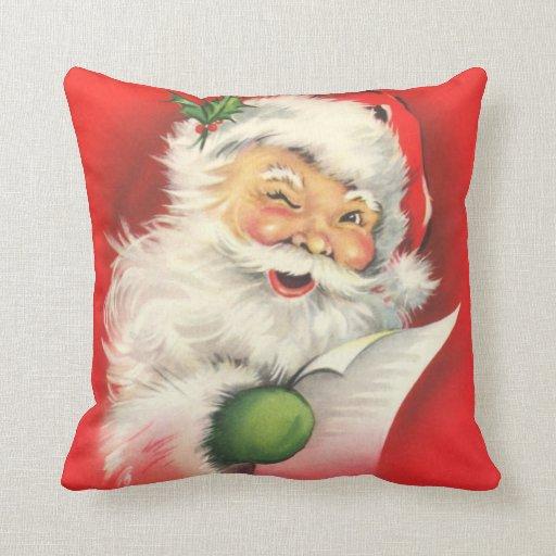 Santa Claus Naughty Nice List Vintage Christmas Throw Pillow | Zazzle