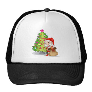 Santa Claus near the christmas tree Trucker Hat