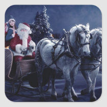 Santa Claus On A Horse Driven Sleigh Square Sticker
