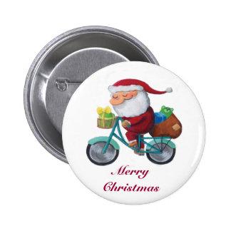 Santa Claus on Bicycle Pin