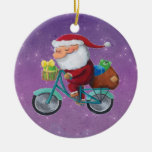 Santa Claus on Bicycle Christmas Tree Ornament