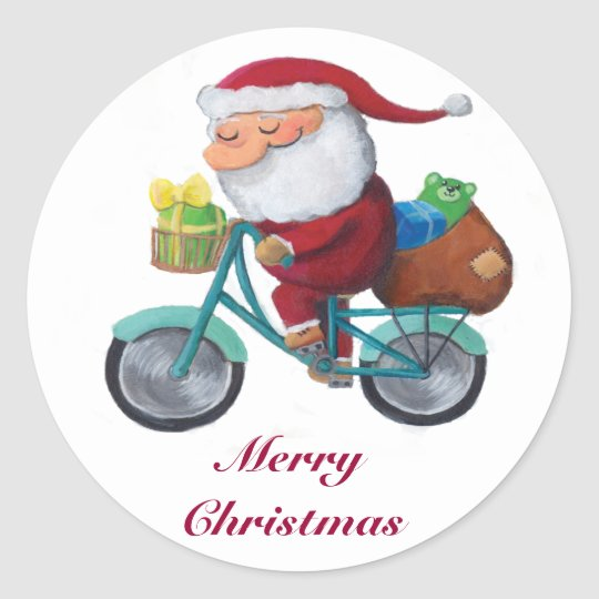 Santa Claus on Bicycle Classic Round Sticker