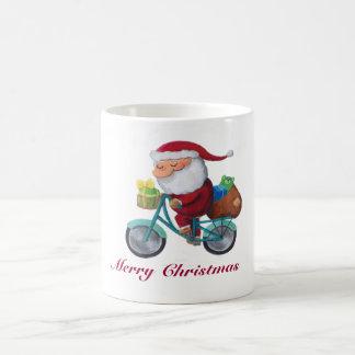 Santa Claus on Bicycle -custom txt- Mugs