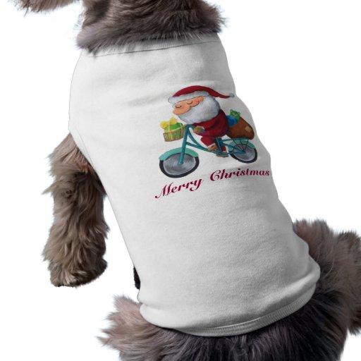 Santa Claus on Bicycle Doggie Tee Shirt