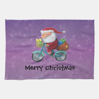 Santa Claus on Bicycle Hand Towels