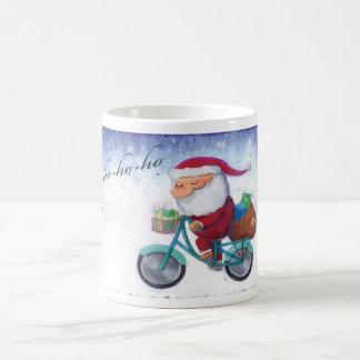 Santa Claus on Bicycle Coffee Mugs
