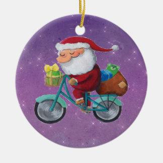 Santa Claus on Bicycle Christmas Tree Ornament