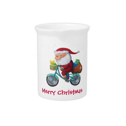 Santa Claus on Bicycle Pitchers