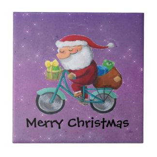 Santa Claus on Bicycle Ceramic Tile