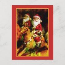 Santa Claus on Carousel Holiday Postcard