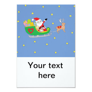 "Santa Claus on Christmas Night 3.5"" X 5"" Invitation Card"