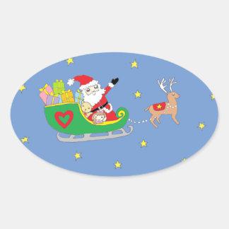 Santa Claus on Christmas Night Sticker