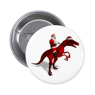 Santa Claus On Dino 2 Inch Round Button