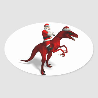 Santa Claus On Dino Oval Sticker