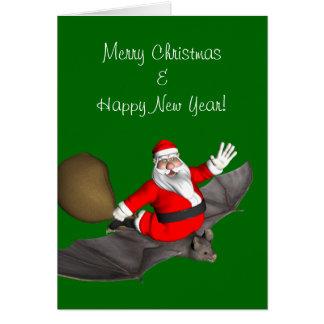Santa Claus On Flying Bat Card