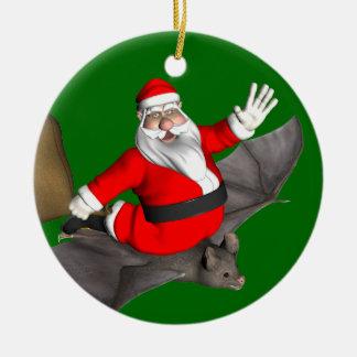 Santa Claus On Flying Bat Ceramic Ornament