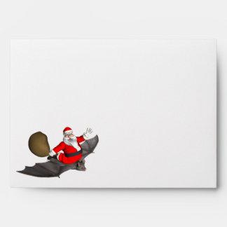 Santa Claus On Flying Bat Envelope