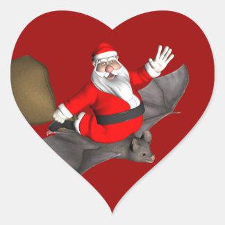 Santa Claus On Flying Bat Heart Sticker