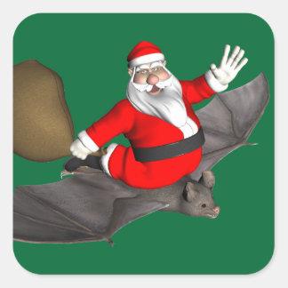 Santa Claus On Flying Bat Square Sticker
