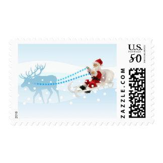 Santa Claus on his sleigh Postage